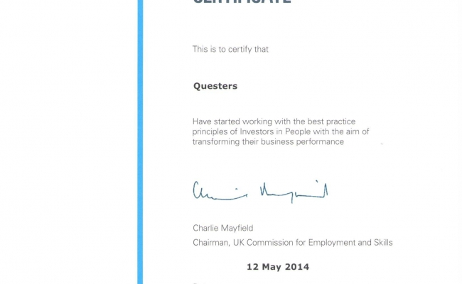 Questers is Now Certified working with Investors in People - Questers